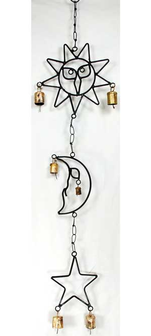 Sun, Moon, & Star wind chime