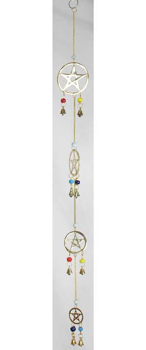 "4 Pentagram wind chime 24"" long"